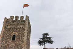 SKOPJE, DIE REPUBLIK MAZEDONIEN - 24. FEBRUAR 2018: Skopje-Festung Kohlfestung in der alten Stadt Stockfoto