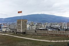 SKOPJE, DIE REPUBLIK MAZEDONIEN - 24. FEBRUAR 2018: Skopje-Festung Kohlfestung in der alten Stadt Lizenzfreies Stockfoto