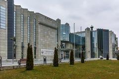 SKOPJE, DIE REPUBLIK MAZEDONIEN - 24. FEBRUAR 2018: Holocaust-Museum in der Stadt von Skopje Stockfotografie