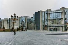 SKOPJE, DIE REPUBLIK MAZEDONIEN - 24. FEBRUAR 2018: Holocaust-Museum in der Stadt von Skopje Stockbilder