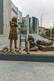 SKOPJE, DIE REPUBLIK MAZEDONIEN - 24. FEBRUAR 2018: Holocaust-Museum in der Stadt von Skopje Lizenzfreie Stockbilder