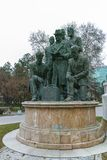 SKOPJE, DIE REPUBLIK MAZEDONIEN - 24. FEBRUAR 2018: Monument im Skopje-Stadtzentrum Stockbild