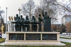 SKOPJE, DIE REPUBLIK MAZEDONIEN - 24. FEBRUAR 2018: Monument im Skopje-Stadtzentrum Stockfoto