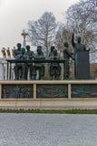 SKOPJE, DIE REPUBLIK MAZEDONIEN - 24. FEBRUAR 2018: Monument im Skopje-Stadtzentrum Stockfotos