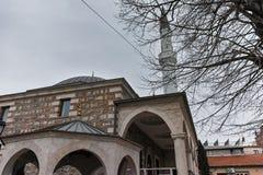 SKOPJE, DIE REPUBLIK MAZEDONIEN - 24. FEBRUAR 2018: Moschee in der alten Stadt der Stadt von Skopje Stockfoto
