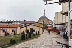 SKOPJE, DIE REPUBLIK MAZEDONIEN - 24. FEBRUAR 2018: Mustafa Pasha-` s Moschee in der alten Stadt der Stadt von Skopje Stockfotos