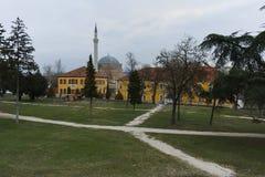 SKOPJE, DIE REPUBLIK MAZEDONIEN - 24. FEBRUAR 2018: Mustafa Pasha-` s Moschee in der alten Stadt der Stadt von Skopje Lizenzfreie Stockfotografie