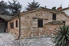 SKOPJE, DIE REPUBLIK MAZEDONIEN - 24. FEBRUAR 2018: Orthodoxe Kirche der Besteigung von Jesus in Skopje Stockfotos