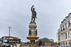 SKOPJE, DIE REPUBLIK MAZEDONIEN - 24. FEBRUAR 2018: Philip II von Macedon-Monument in Skopje Lizenzfreie Stockfotos