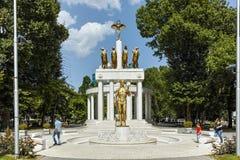 SKOPJE, DIE REPUBLIK MAZEDONIEN - 13. MAI 2017: Denkmal der gefallenen Helden in der Stadt von Skopje Lizenzfreie Stockfotografie
