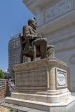 SKOPJE, DIE REPUBLIK MAZEDONIEN - 13. MAI 2017: Hristo Tatarchev Monument- und Mazedonien-Torbogen, Skopje Lizenzfreie Stockfotografie