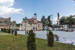 SKOPJE, DIE REPUBLIK MAZEDONIEN - 13. MAI 2017: Orthodoxe Kirche von Kirchen-St. Demetrius in Skopje Stockbilder