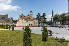 SKOPJE, DIE REPUBLIK MAZEDONIEN - 13. MAI 2017: Orthodoxe Kirche von Kirchen-St. Demetrius in Skopje Lizenzfreie Stockfotos