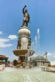 SKOPJE, DIE REPUBLIK MAZEDONIEN - 13. MAI 2017: Philip II von Macedon-Monument in Skopje Stockfotografie