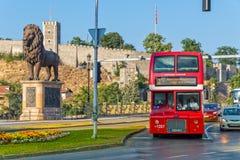 Skopje-Doppeldeckerbus Lizenzfreie Stockbilder