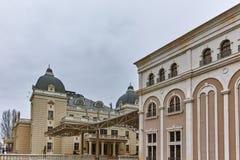 SKOPJE, EL REPÚBLICA DE MACEDONIA - 24 DE FEBRERO DE 2018: Edificio del teatro nacional macedónico en la ciudad de Skopje Imagenes de archivo