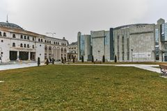 SKOPJE, EL REPÚBLICA DE MACEDONIA - 24 DE FEBRERO DE 2018: Museo del holocausto en la ciudad de Skopje Foto de archivo