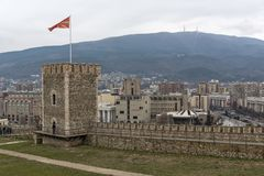 Skopje-Festung Kohlfestung in der alten Stadt, die Republik Mazedonien stockfotos