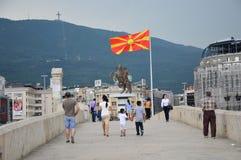Skopje - flagga av Republiken Makedonien royaltyfria foton