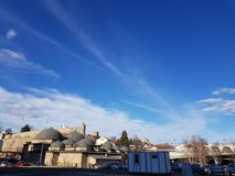 Skopje Hamam y horizonte del castillo imágenes de archivo libres de regalías