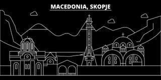 Skopje konturhorisont Makedonien - Skopje vektorstad, macedonian linjär arkitektur, byggnader Skopje lopp vektor illustrationer