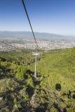 SKOPJE, MACEDÔNIA - APRIL16, 2016: Vista aérea do teleférico em V Imagens de Stock Royalty Free