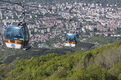 SKOPJE, MACEDONIA - APRIL16, 2016: Aerial view of cable car on V Stock Photo