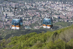 SKOPJE, MACEDONIA - APRIL16, 2016: Aerial view of cable car on V Stock Images