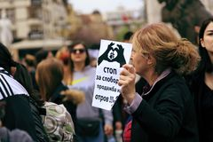 Civilians protesting the violence towards to street dogs,  solid. Skopje, Macedonia - April 9, 2017: Civilians protesting the violence towards to street dogs Royalty Free Stock Photos