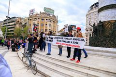 Civilians protesting the violence towards to street dogs,  solid. Skopje, Macedonia - April 9, 2017: Civilians protesting the violence towards to street dogs Stock Image