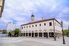 The church of Crkva Sv. Bogorodica in Skopje, Macedonia. Skopje, Macedonia - April 9, 2017: Exterior view of the church of Crkva Sv. Bogorodica in Skopje Royalty Free Stock Photos