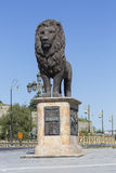 SKOPJE, MACEDONIA - APRIL 14, 2016: Lion sculpture on the wester Stock Photo