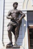 Male bronze sculpture in downtown Skopje. Skopje, Macedonia - April 9, 2017: Male bronze sculpture in downtown Skopje, Macedonian capital. The city center is Stock Photos