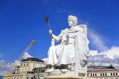 Marble sculpture of Byzantine Emperor Justinian in Skopje, Maced Royalty Free Stock Image