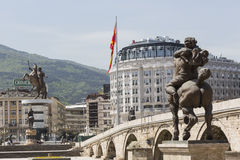 SKOPJE, MACEDONIA - APRIL 14, 2016: Square Makedonia, the capita Stock Images
