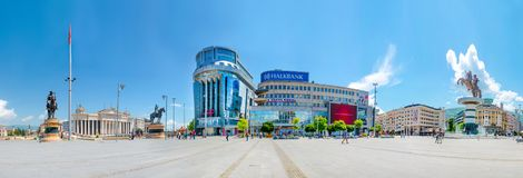 Panoramic view of city landscape attractions with square Macedonia, statue of Alexander the Great, Archeological museum royalty free stock images