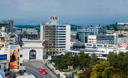 Panoramic Skyline of Skopje with view of Gate Macedonia and statue of Alexander the Great stock photo