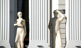 Skopje, Macedonia - january 23, 2013:Statues of a man and woman on newly opened buiding of Macedonia`s Foreign Affairs Ministry in. Capital Skopje,image of a stock photos