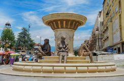 SKOPJE, MACEDONIA - June 10, 2017: Fountain of the Mothers in Skopje royalty free stock photography