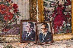 Skopje, Macedonia - 26 June, 2017: Posters of Josip Broz Tito in a antique shop at Old Bazaar, Skopje, former president of  Yugosl Stock Photos