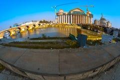 Skopje Macedonia, Listopad, - 2011 Skopje Macedonia, Listopad, - 2011 Budowa nowy budynek archeologiczny muzeum fotografia stock