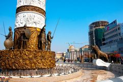Skopje, Macedonia - november 2011. The base of the monument to the fountain of Alexander the great stock image