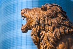 Skopje, Macedonia - november 2011. Lion at the foot of the fountain of the monument to Alexander the great stock photos