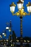 Skopje Makedonien, Art Bridge på natten Europeisk stadsarchitectu Arkivbilder