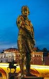 Skopje, Mazedonien, Art Bridge nachts Europäisches Stadt architectu lizenzfreies stockfoto