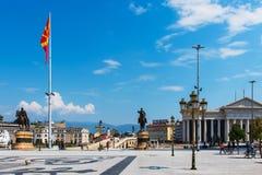 Skopje, Mazedonien - 26. August 2017: Hauptplatz in Skopje, Hauptstadt von Mazedonien mit Alexander das große Monument stockfoto