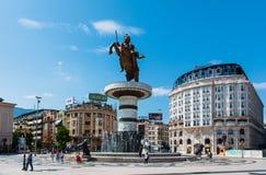 Skopje, Mazedonien - 26. August 2017: Hauptplatz in Skopje, Hauptstadt von Mazedonien mit Alexander das große Monument stockfotos