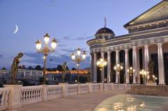 Skopje-Nachtszene stockbild