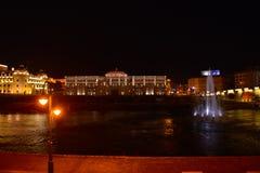 Skopje by night, River Vardar Royalty Free Stock Photos