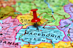 Skopje pinned on a map of europe Royalty Free Stock Photo